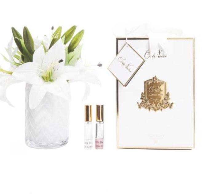 Buy HCF05 - WHITE Herringbone glass - White Lilies & Roses