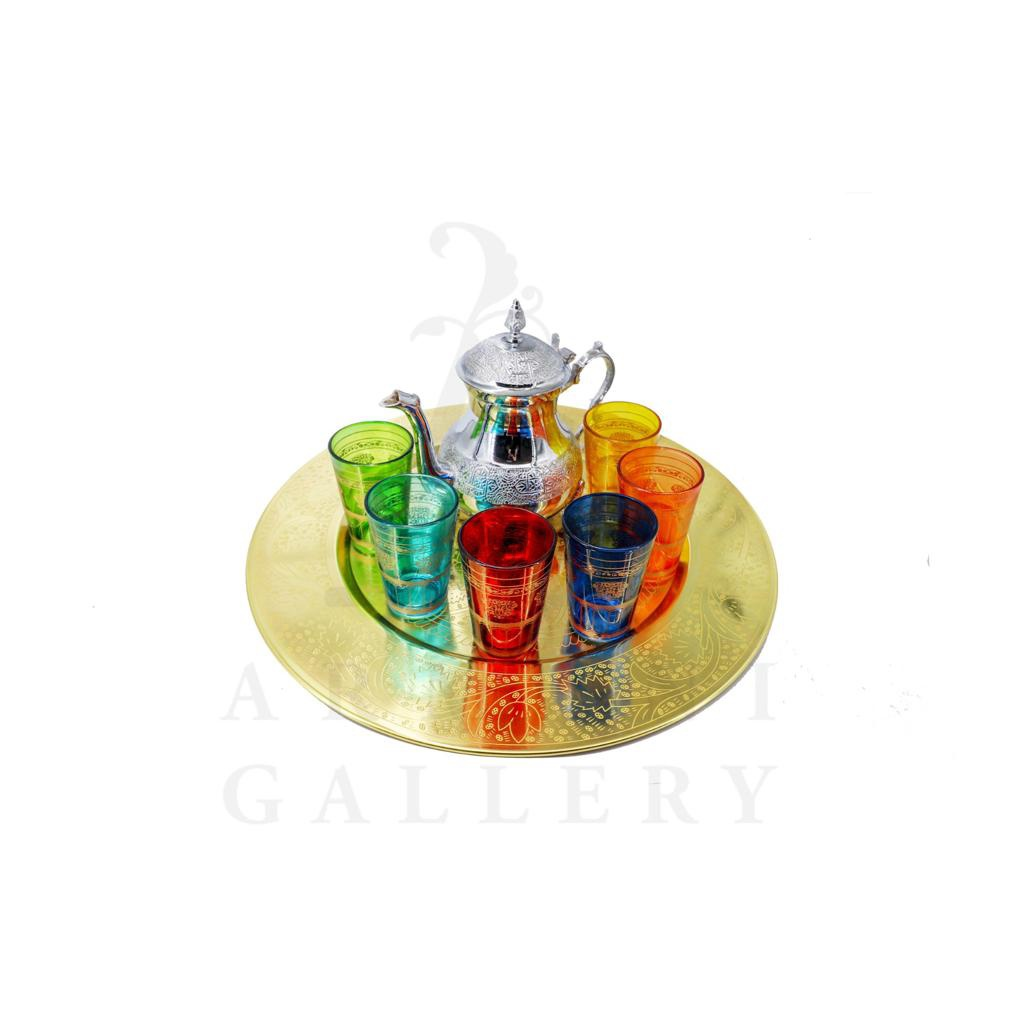 Buy 6 Coloured Glasses Set with Tea Pot and Tray Silver/Gold