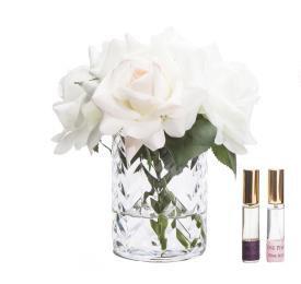 Buy CLEAR Herringbone glass Flower - Blush & White Roses