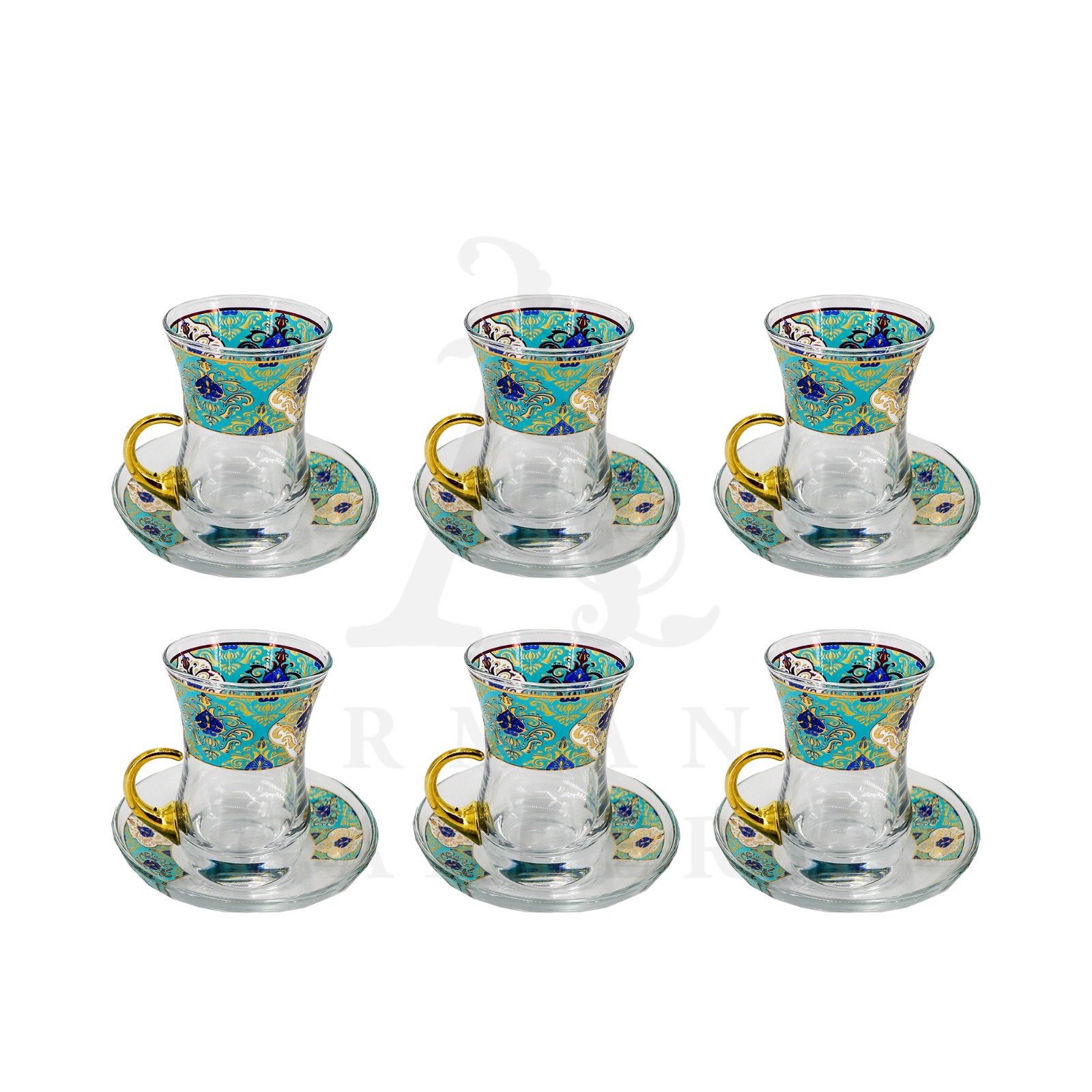 Buy Tea Glass Gold Handle Set with Glass Saucer - Light Blue