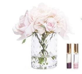Buy CLEAR Herringbone glass Flowers - Roses & Hydrangeas Blush