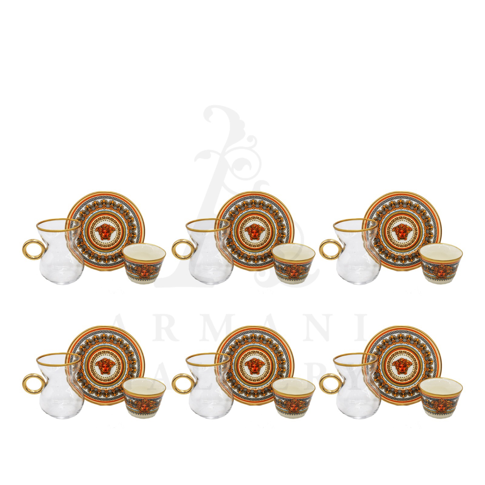Buy Coffee and Tea Cup with Handle Set Versace Gold Face Pattern 18 Pcs