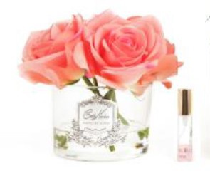 Buy Five White Rose Peach Clear with silver crest