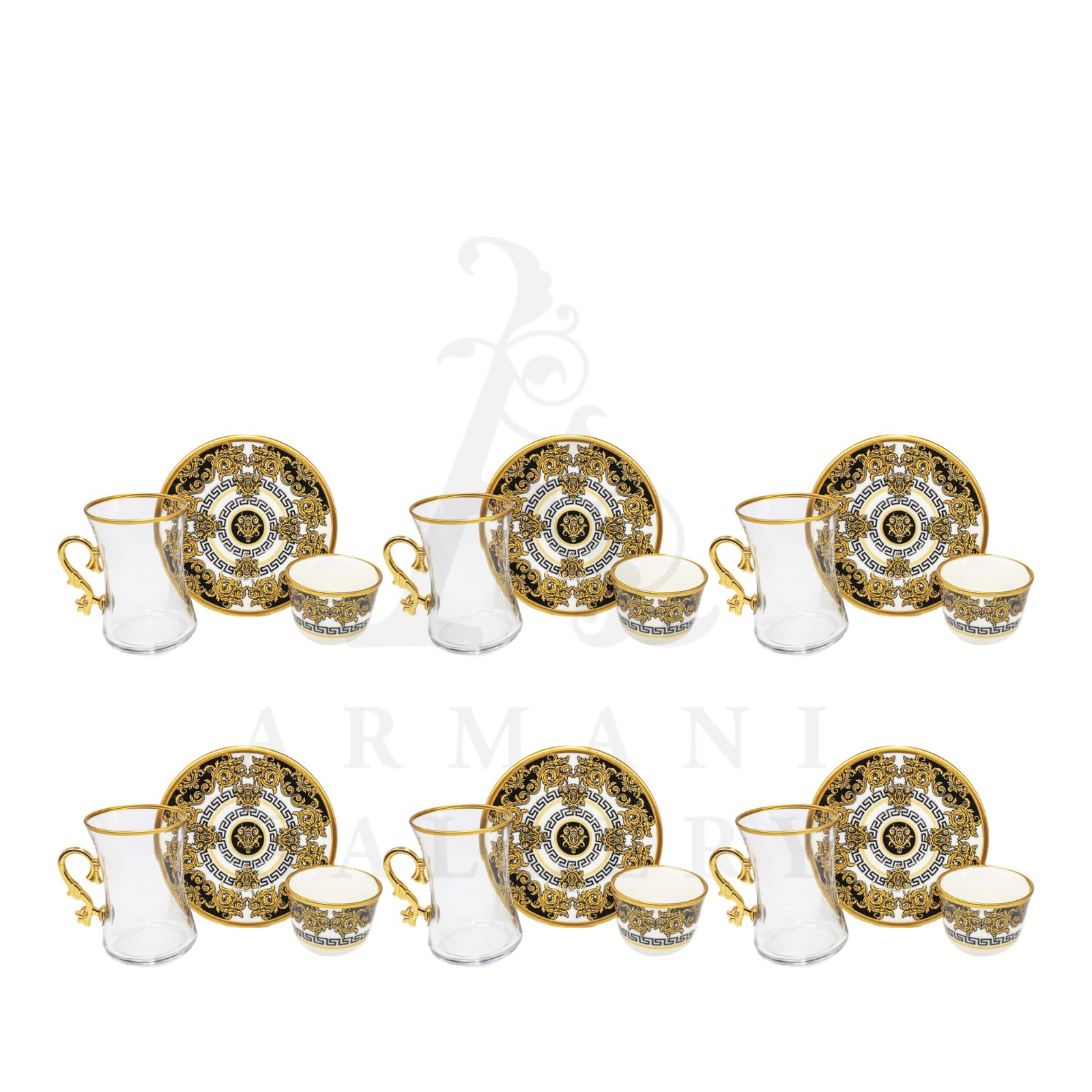 Buy Coffee and Tea Cup with Handle Set Versace Gold and Black S3 18 Pcs