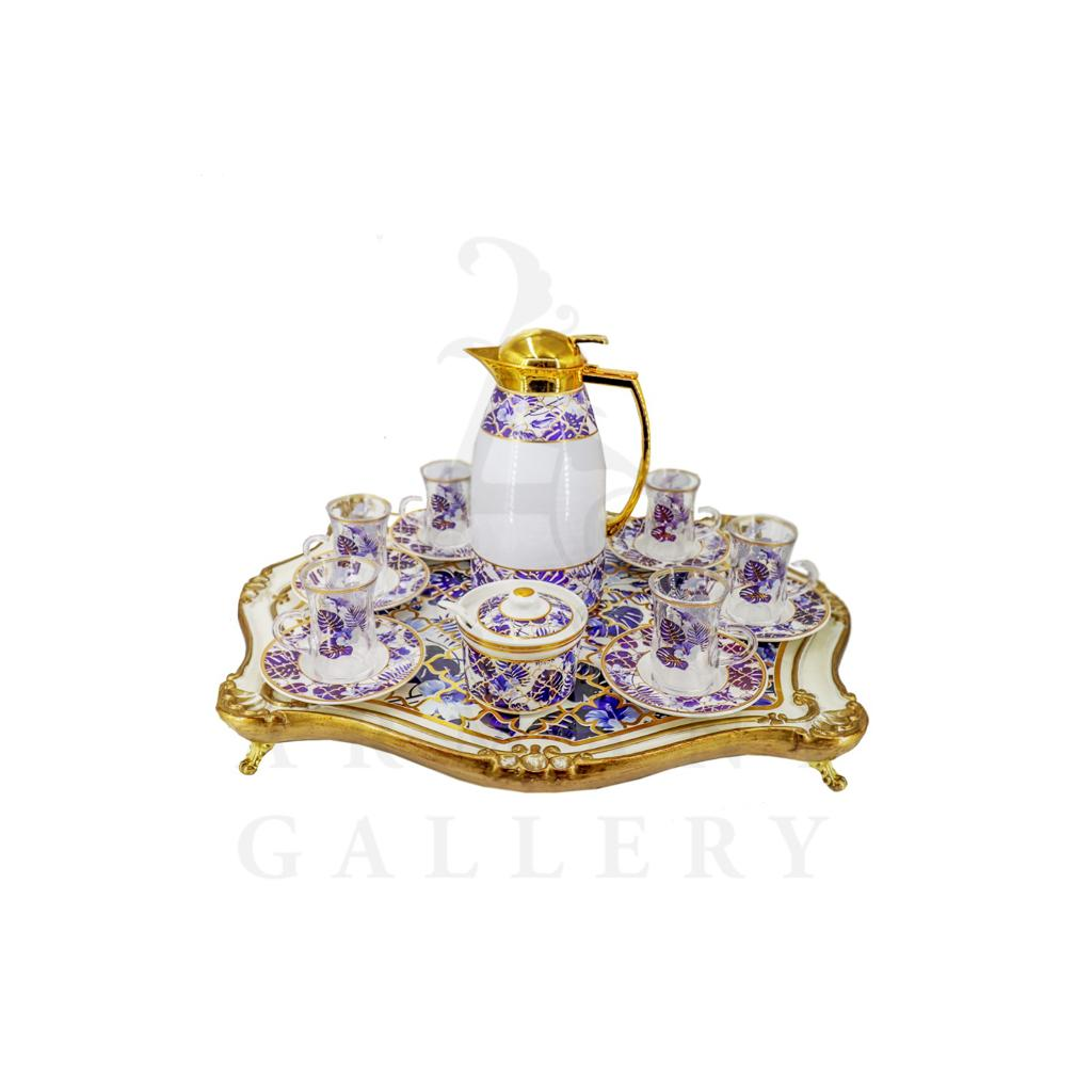Buy Coffee Set with Flask and Tray 15 Pcs - Purple and White