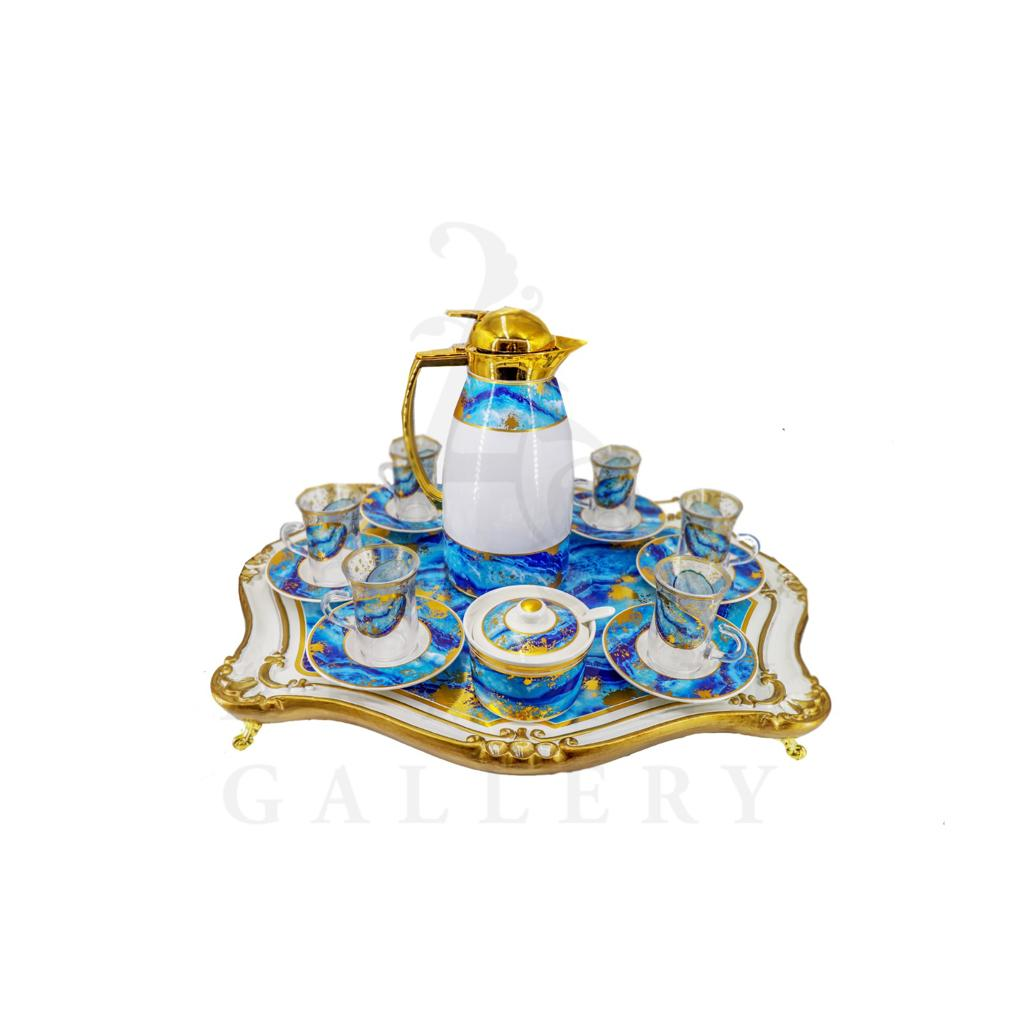 Buy Coffee Set with Flask and Tray 15 Pcs - Blue and White