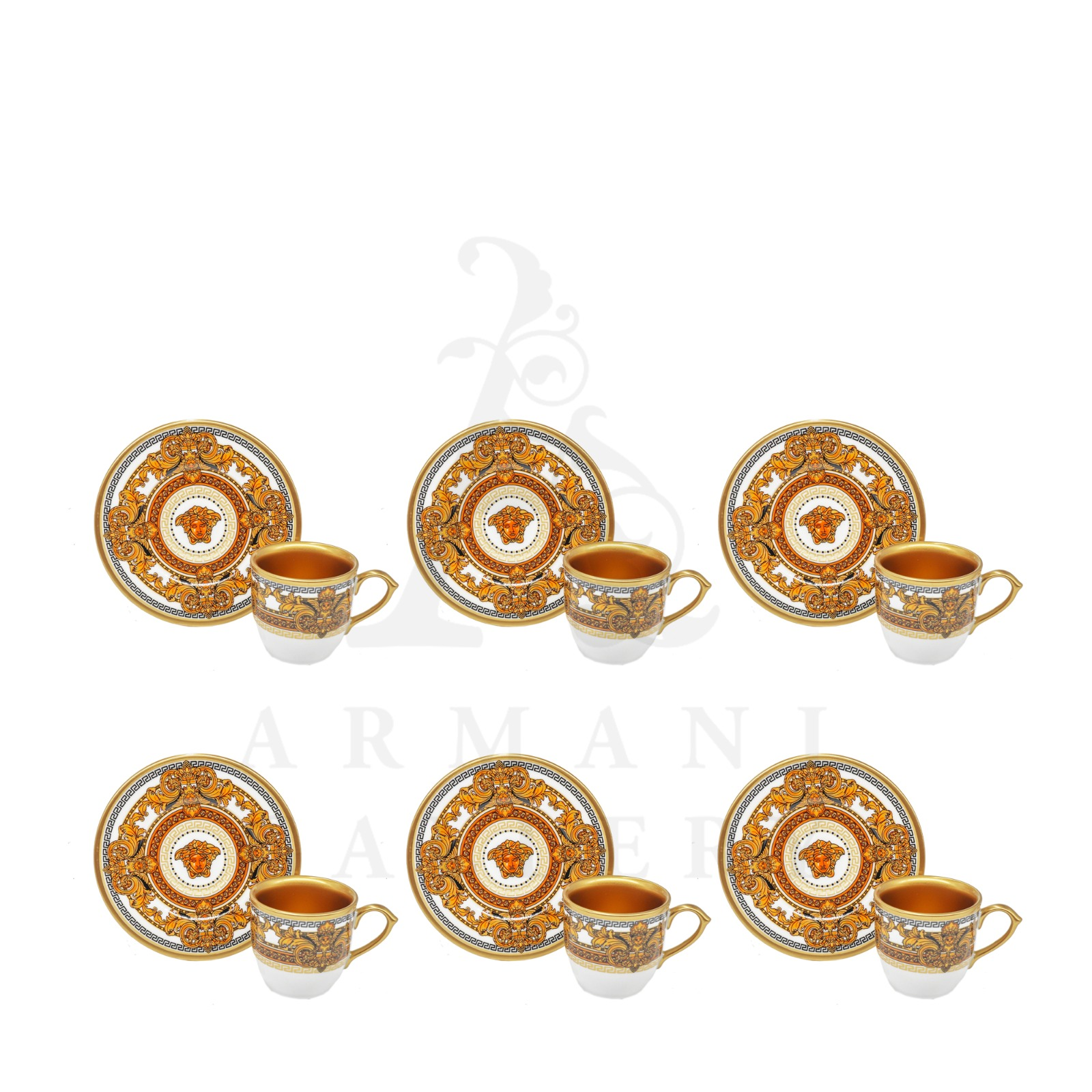 Buy Turkish Coffee Set Versace Orange 12 Pcs