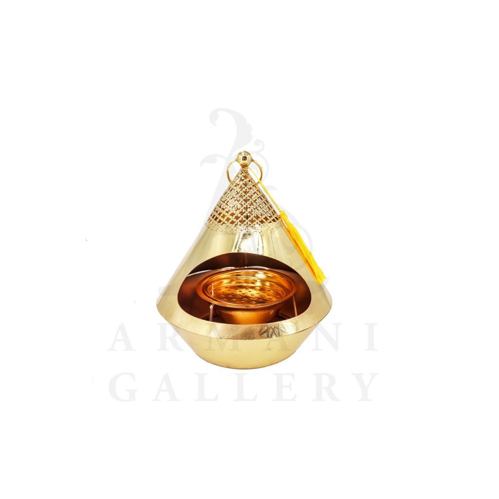 Buy Incense Burner Pyramid Gold - Medium 19x20