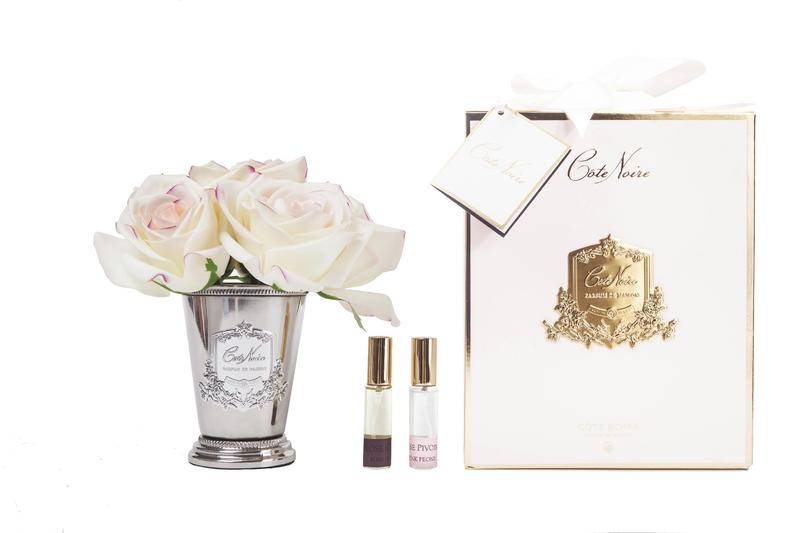 Buy Limited Seven Roses In Silver Vase In Blush - Pink Box Smb20