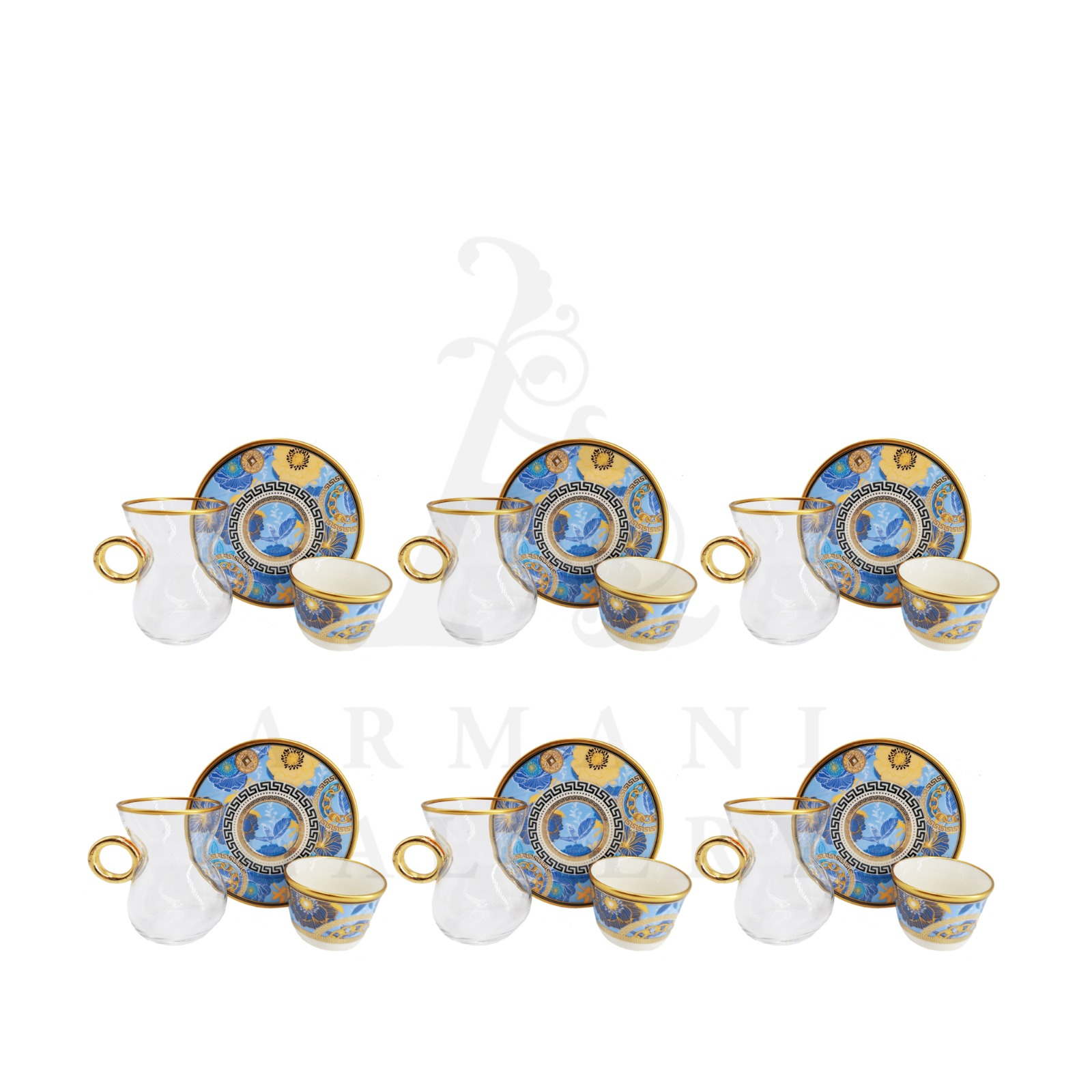 Buy Coffee and Tea Cup with Handle Blue Floral Gold Ring 18 Pcs