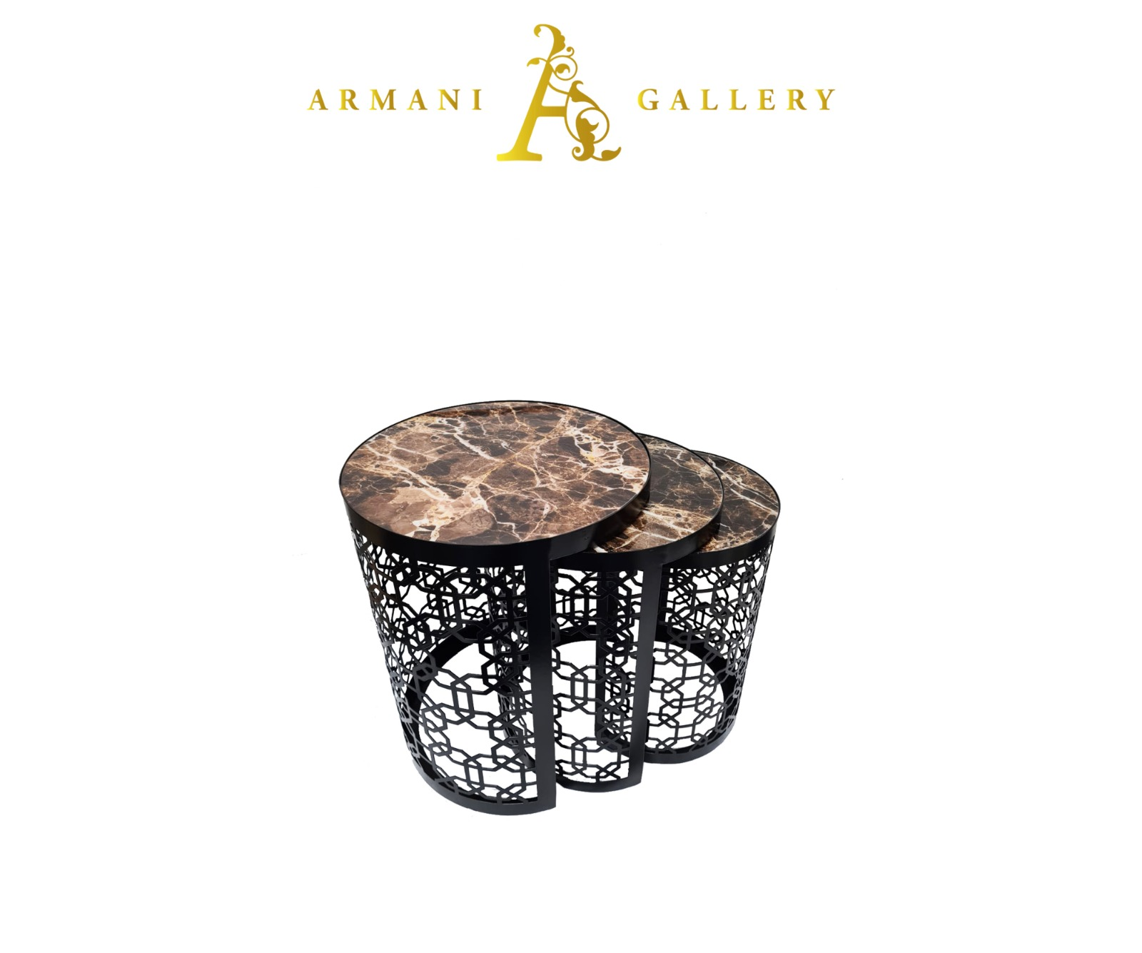 Buy Black Marble Glass Nest of Tables - Style 2