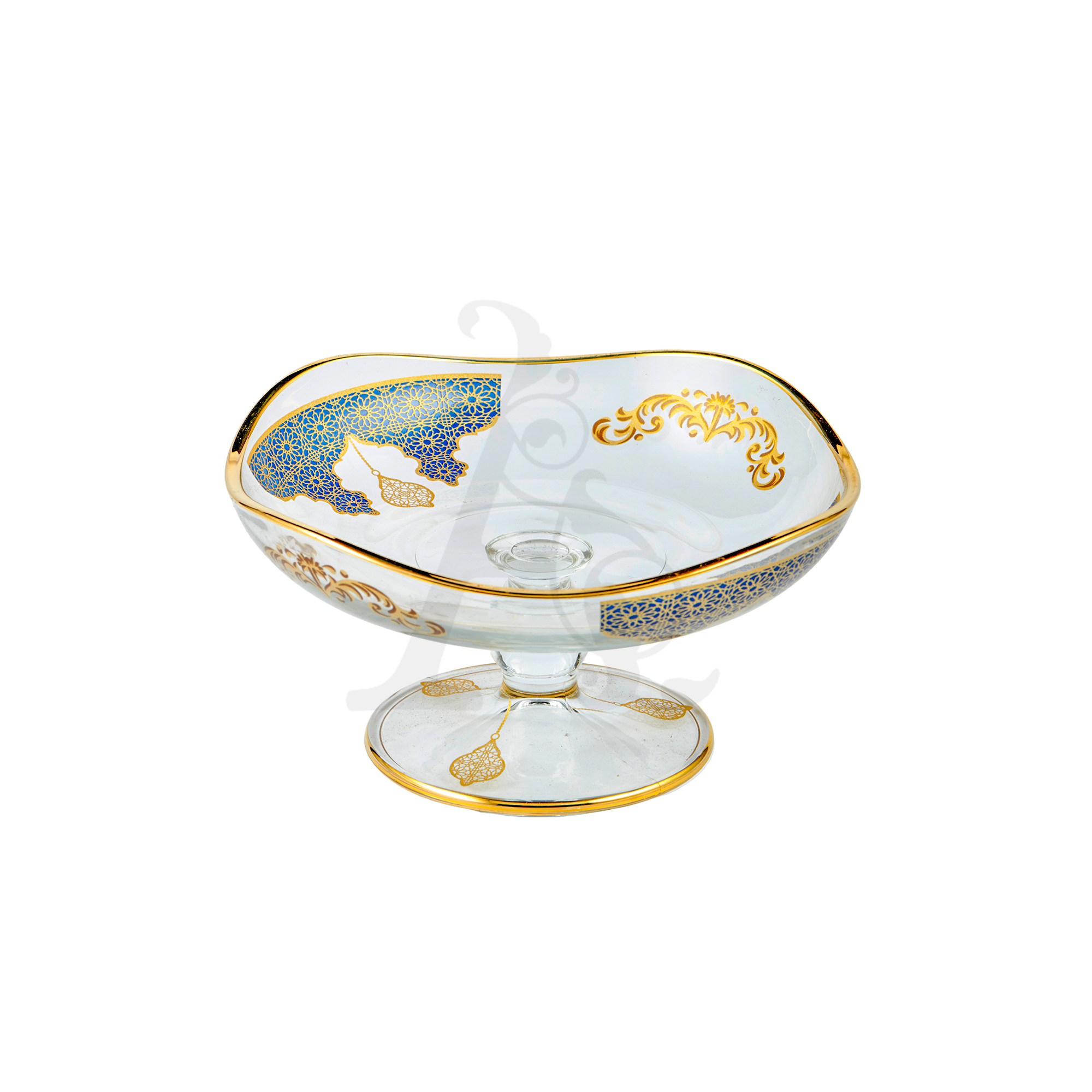 Buy Dessert Bowl with Stem Navy and Gold 95563