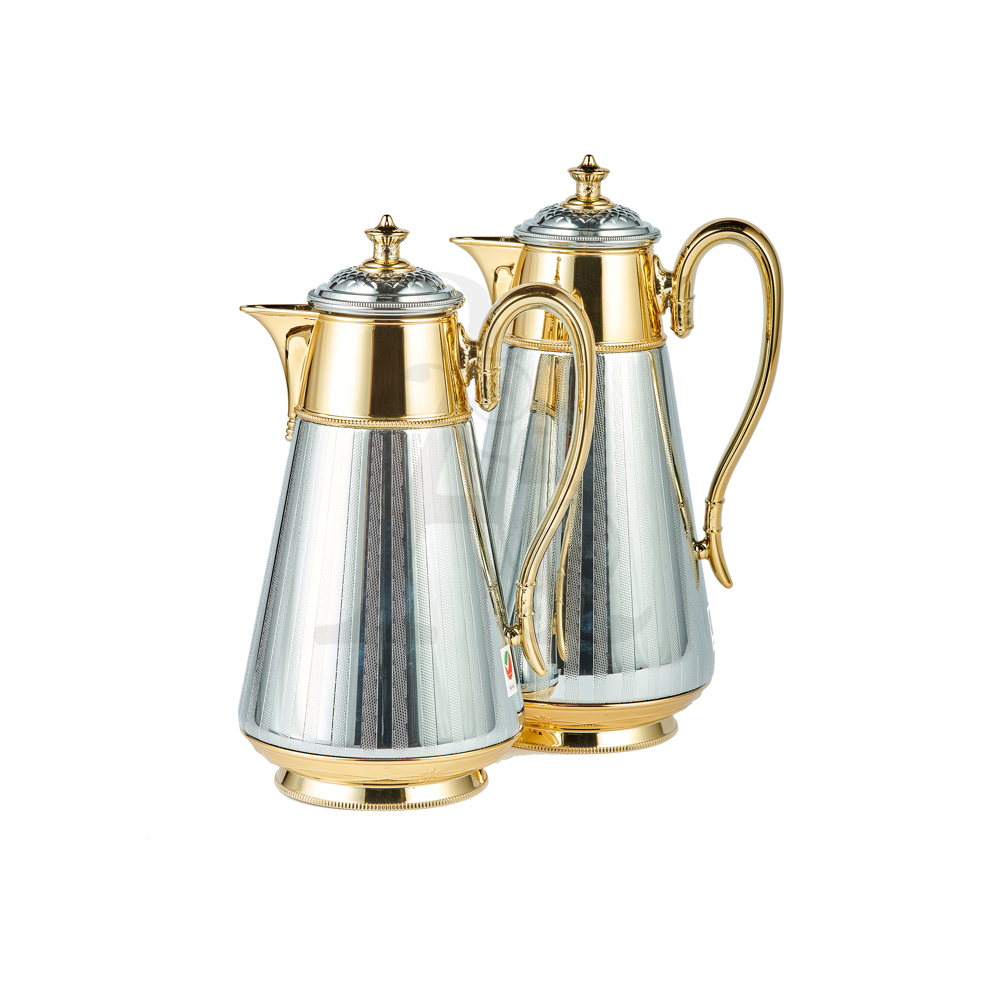 Buy Thermos Set 2 Pieces 0.7/1L Stripe Silver & Gold
