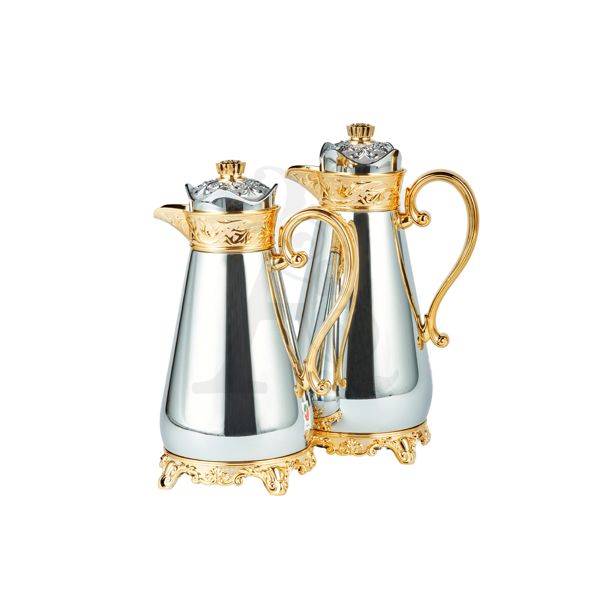Buy Thermos Set 2 Pieces 0.7/1L Crown Top Silver & Gold