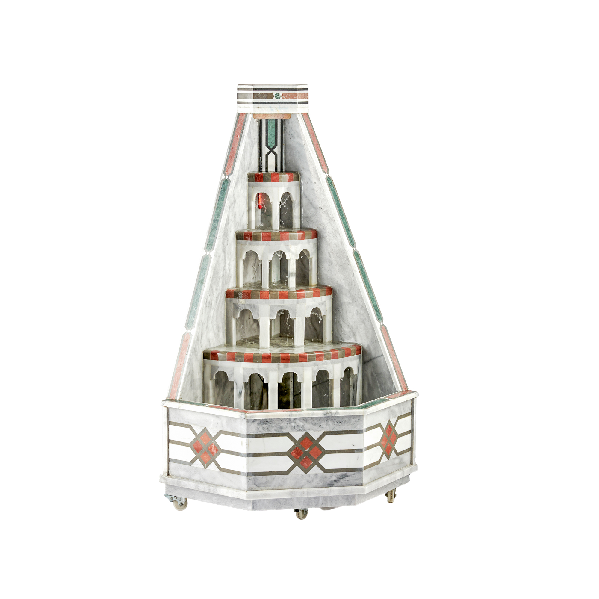 Buy Traditional Syrian Marble Corner Water Fountain Castle (H 61cm x W36cm)