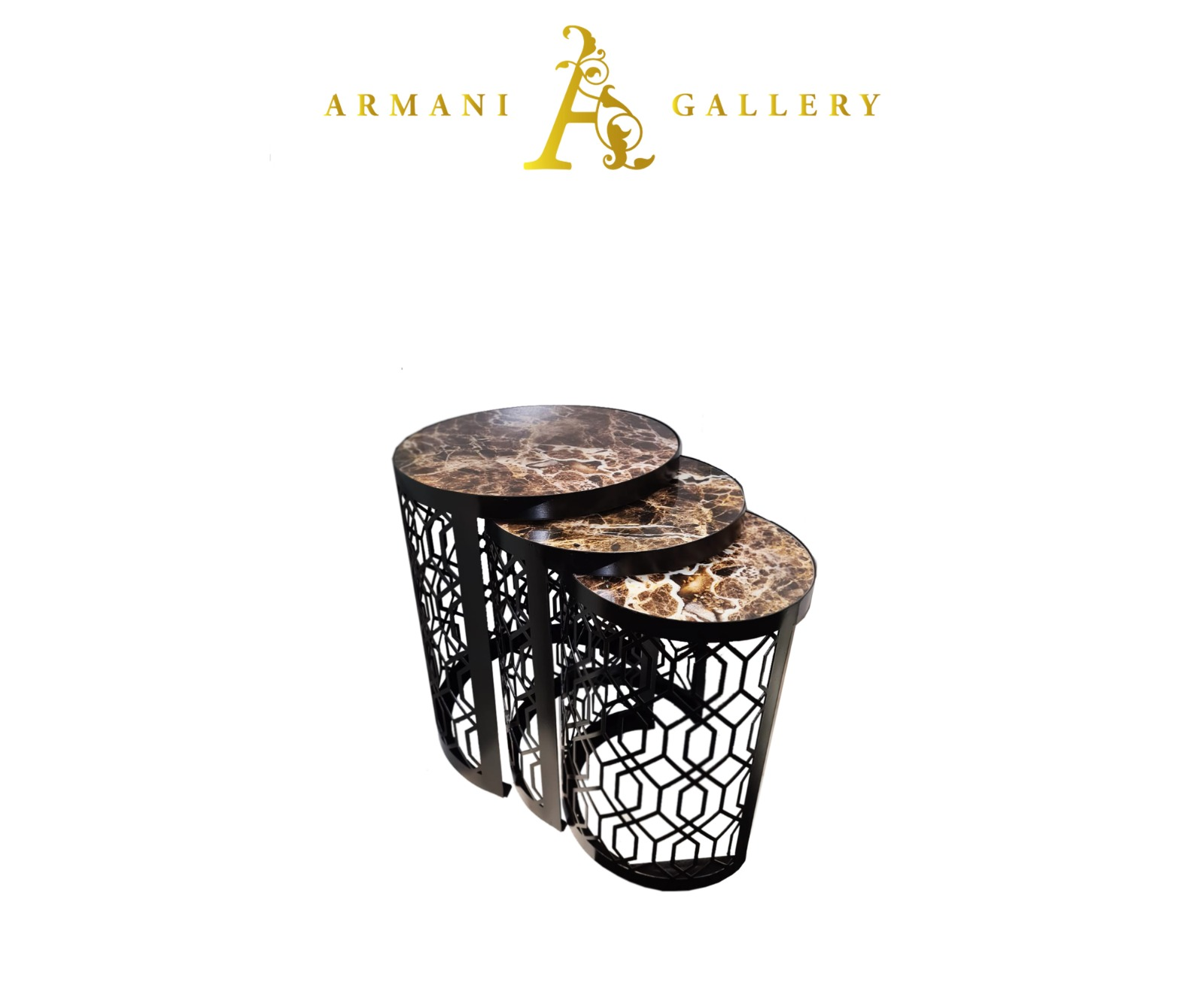 Buy Black Marble Glass Nest of Tables - Style 1