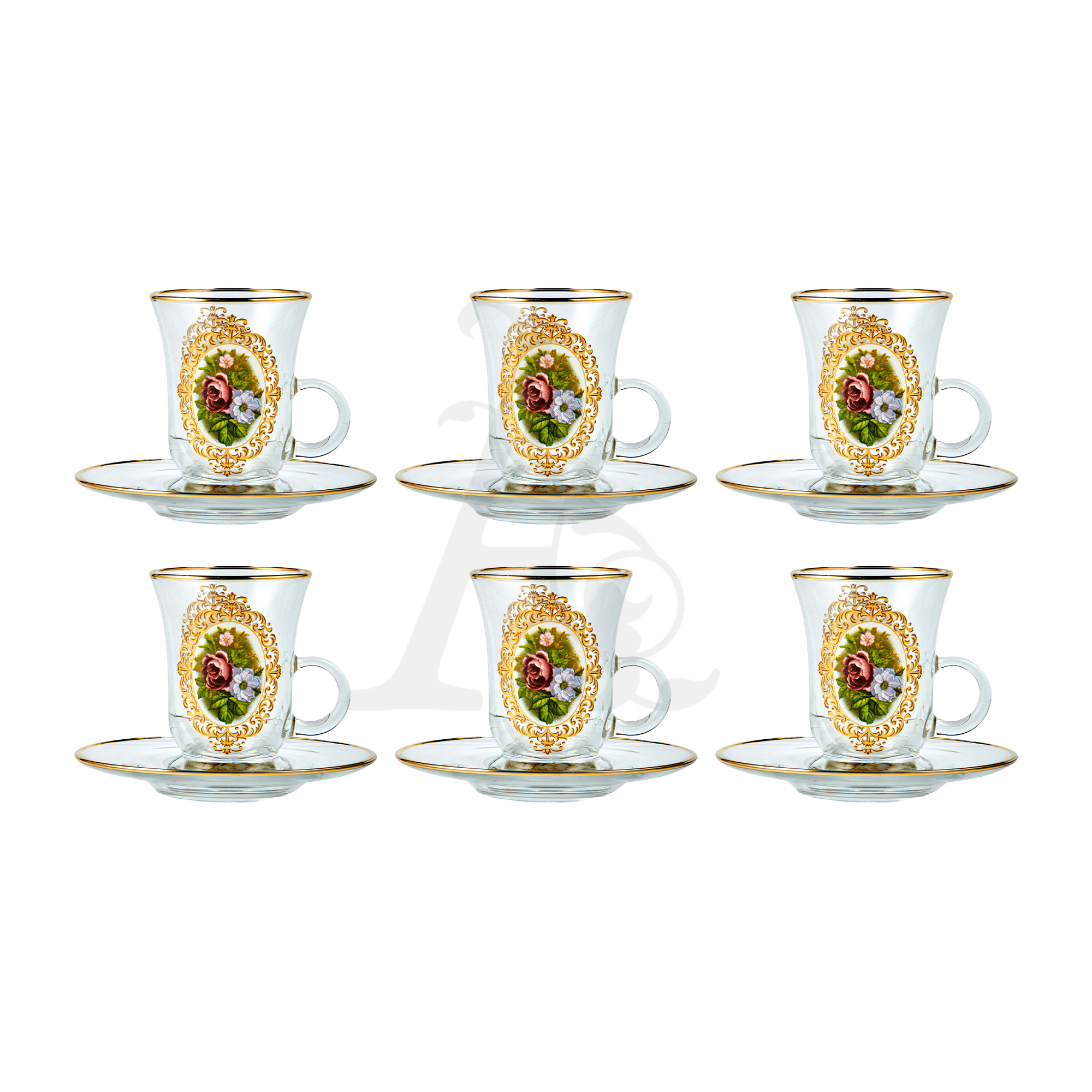 Buy Floral Tea glass set with handles 12 Pcs 55553