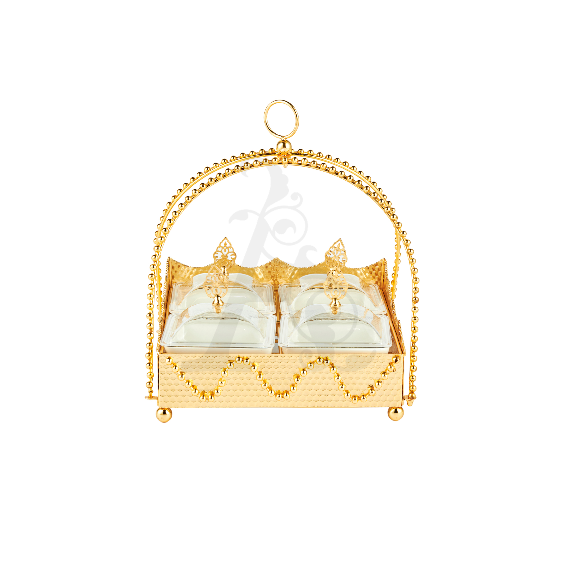 Buy Delight Servers Square 4 Pieces Gold and White 26x26