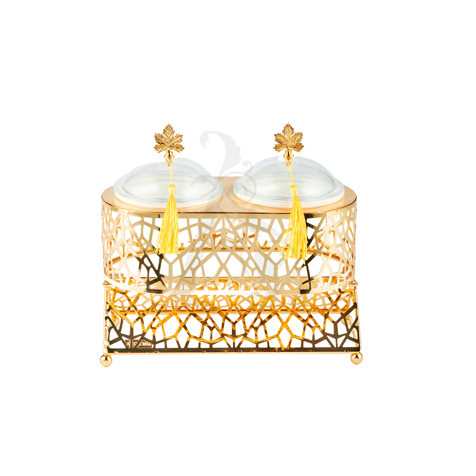 Buy Delight Servers with Base 2 Tall Pieces Gold and White 28x15
