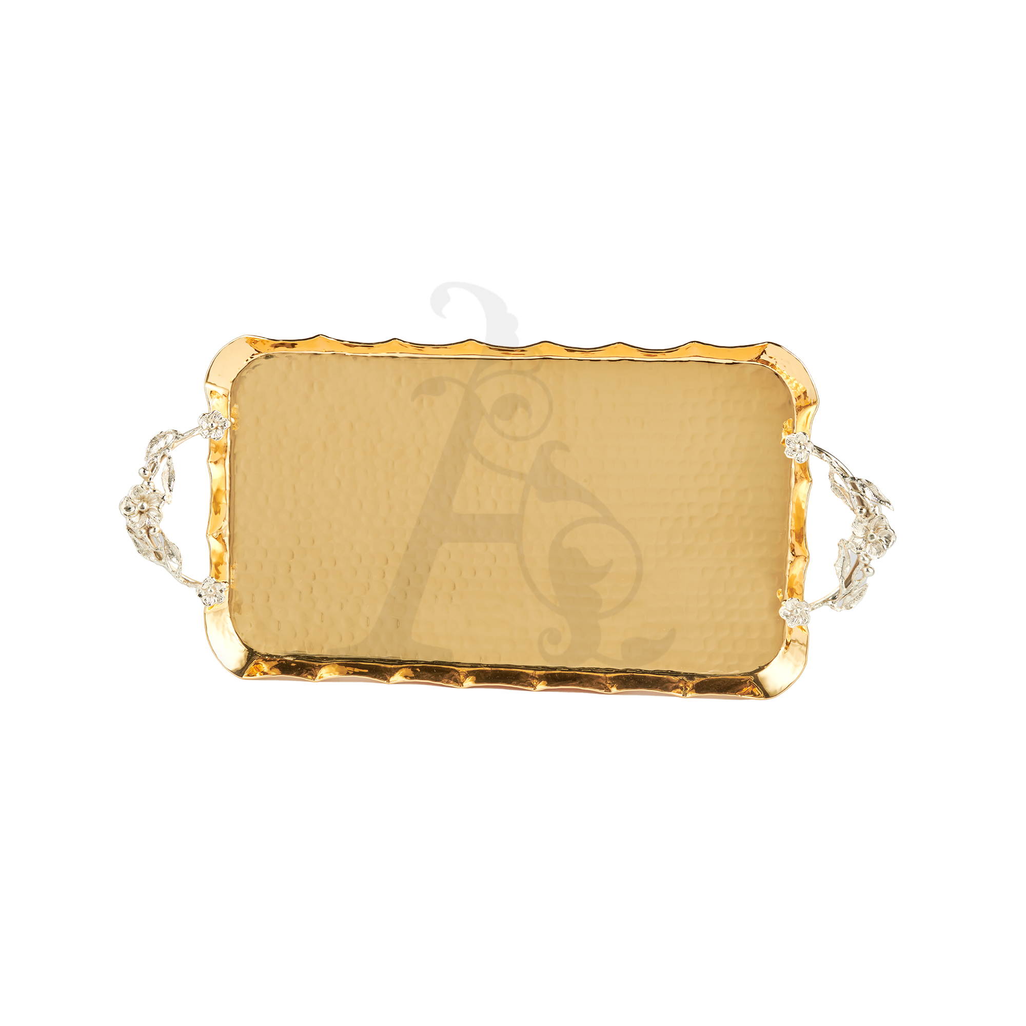 Buy Turkish Floral Gold Serving Tray - 60x33cm