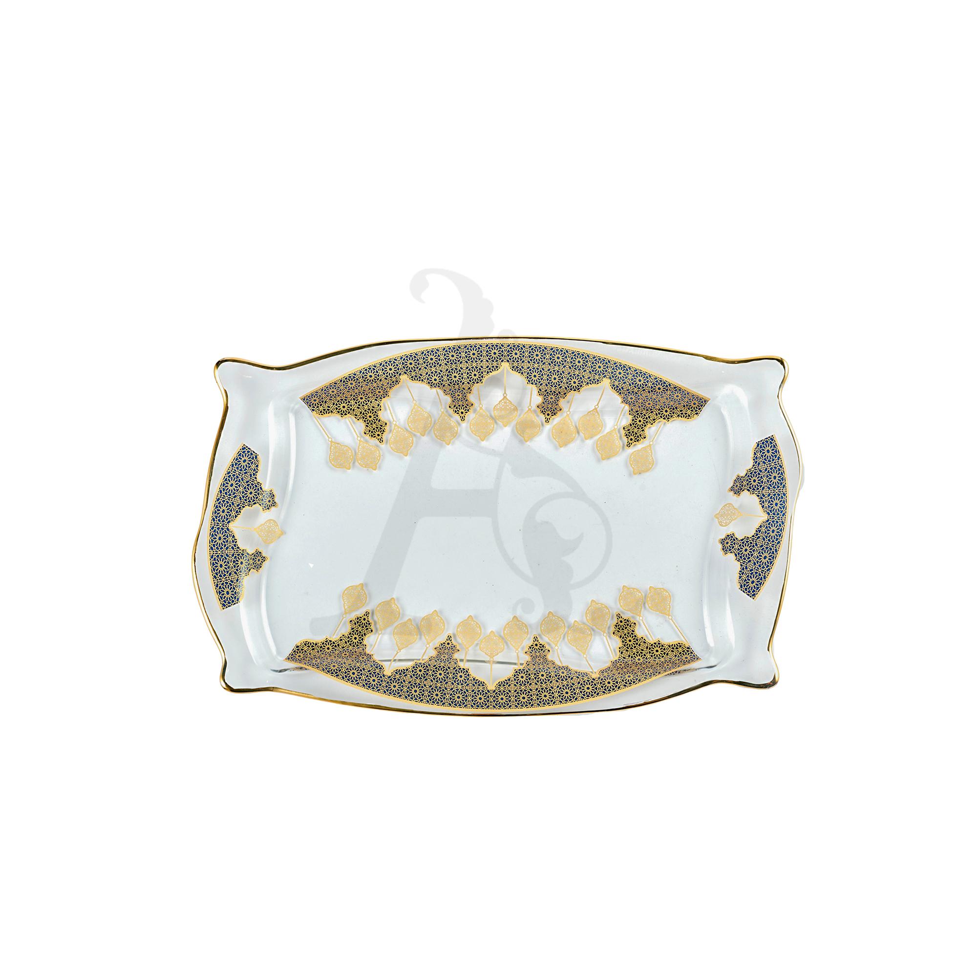Buy Invitation Tempered Glass Plate Blue Border 10488