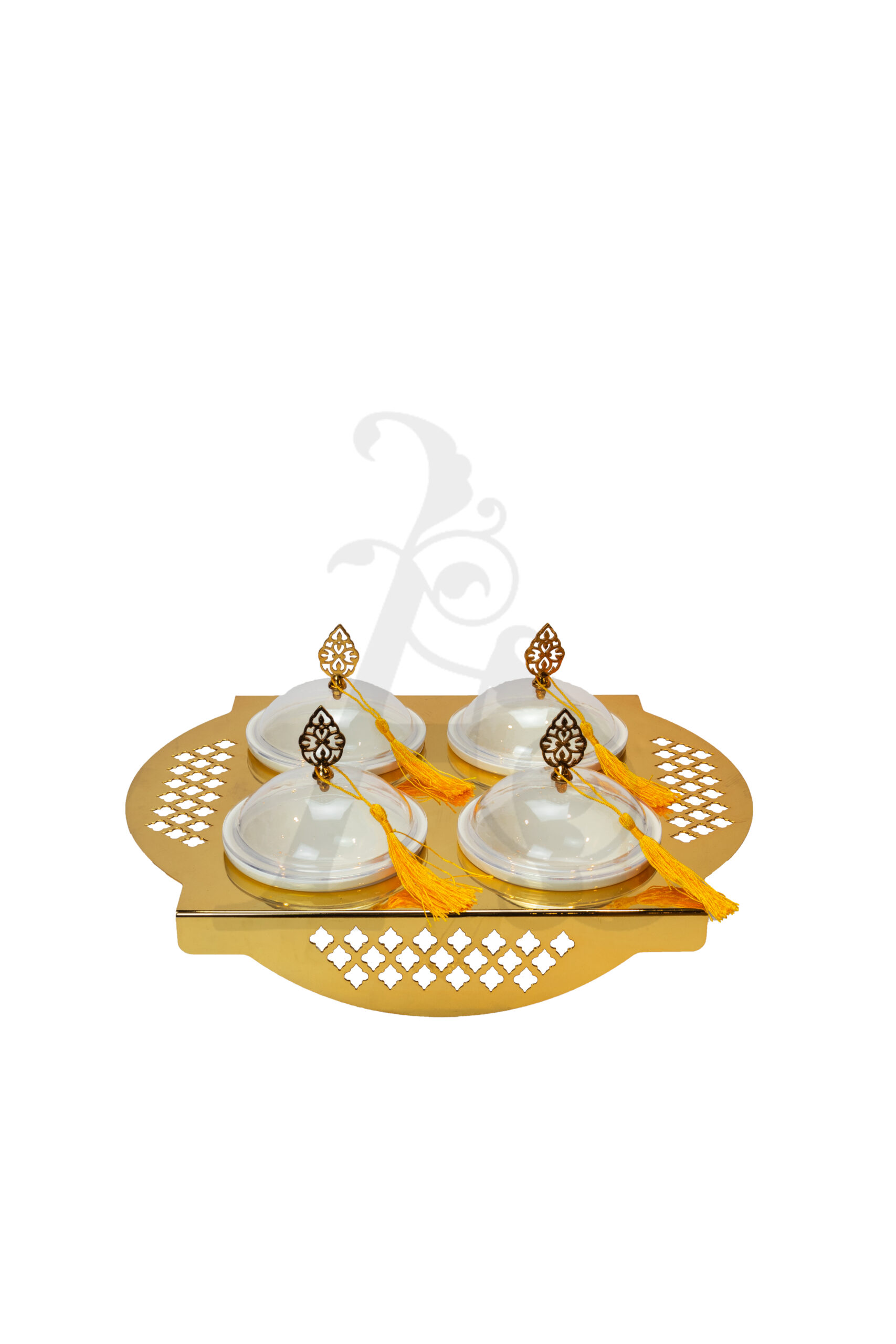 Buy Delight Servers 4 Pieces Round Base Gold and White 40.3x30