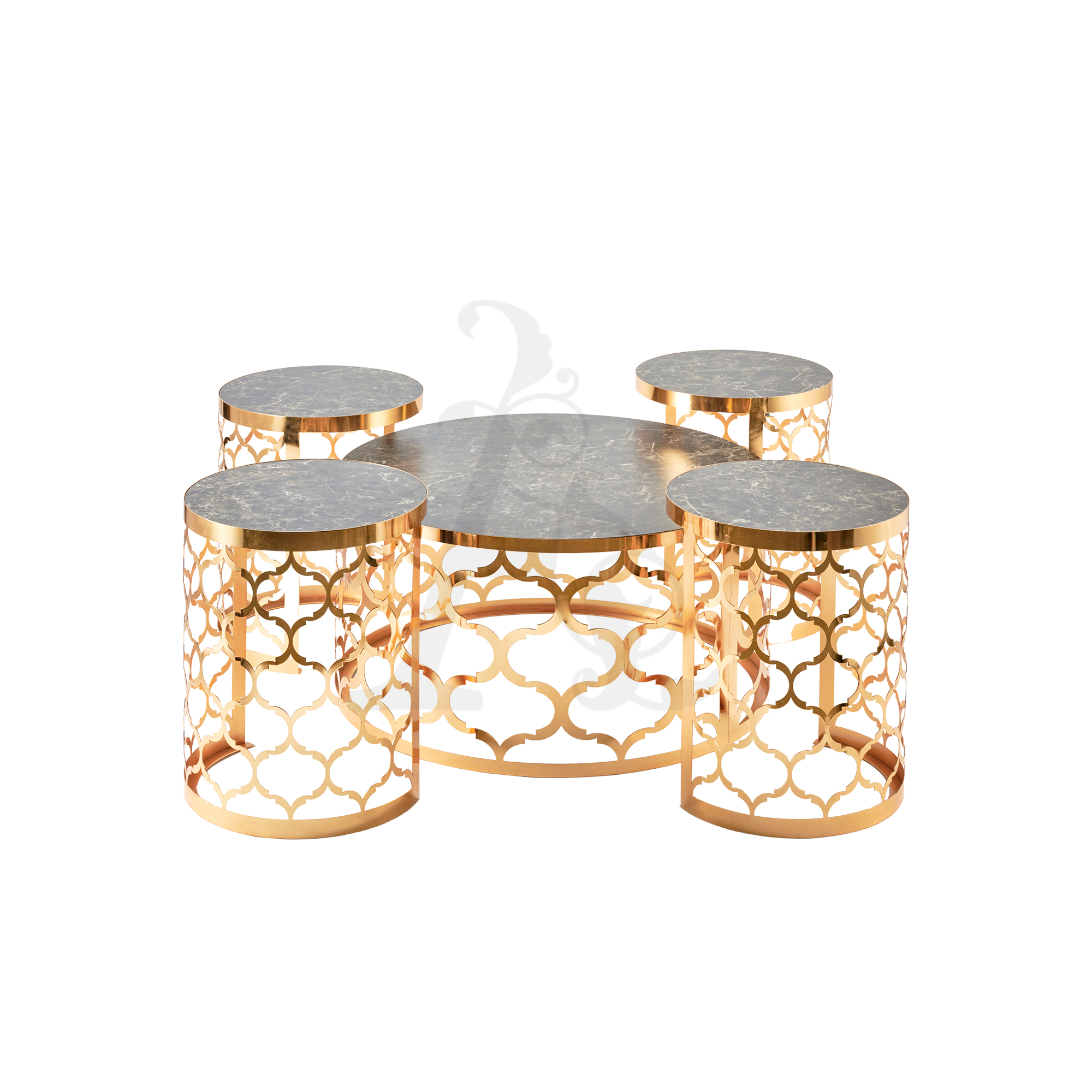 Buy Nest of 5 Round Marble Tables - Black and Gold