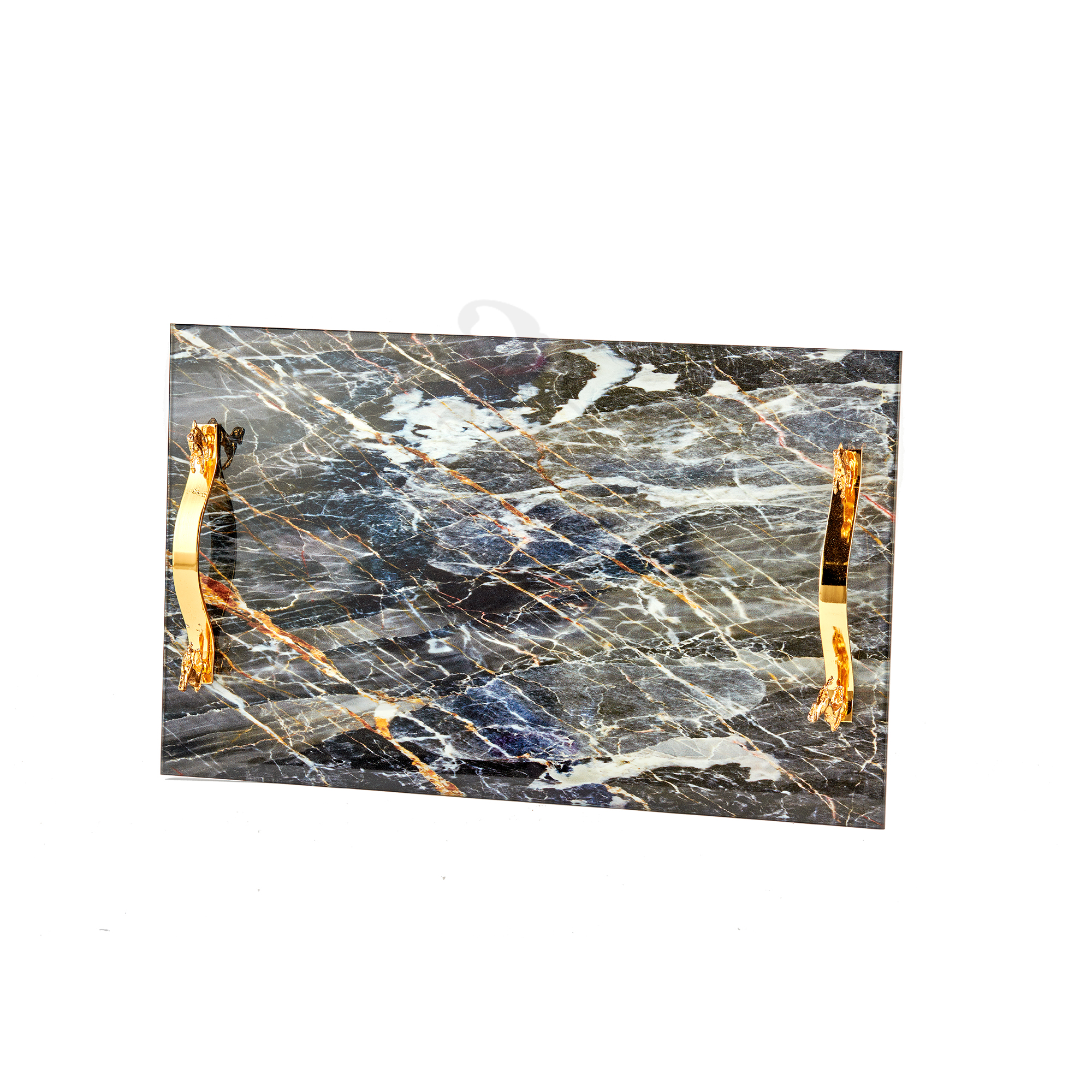 Buy Marble Tray with Decorative Gold Stand