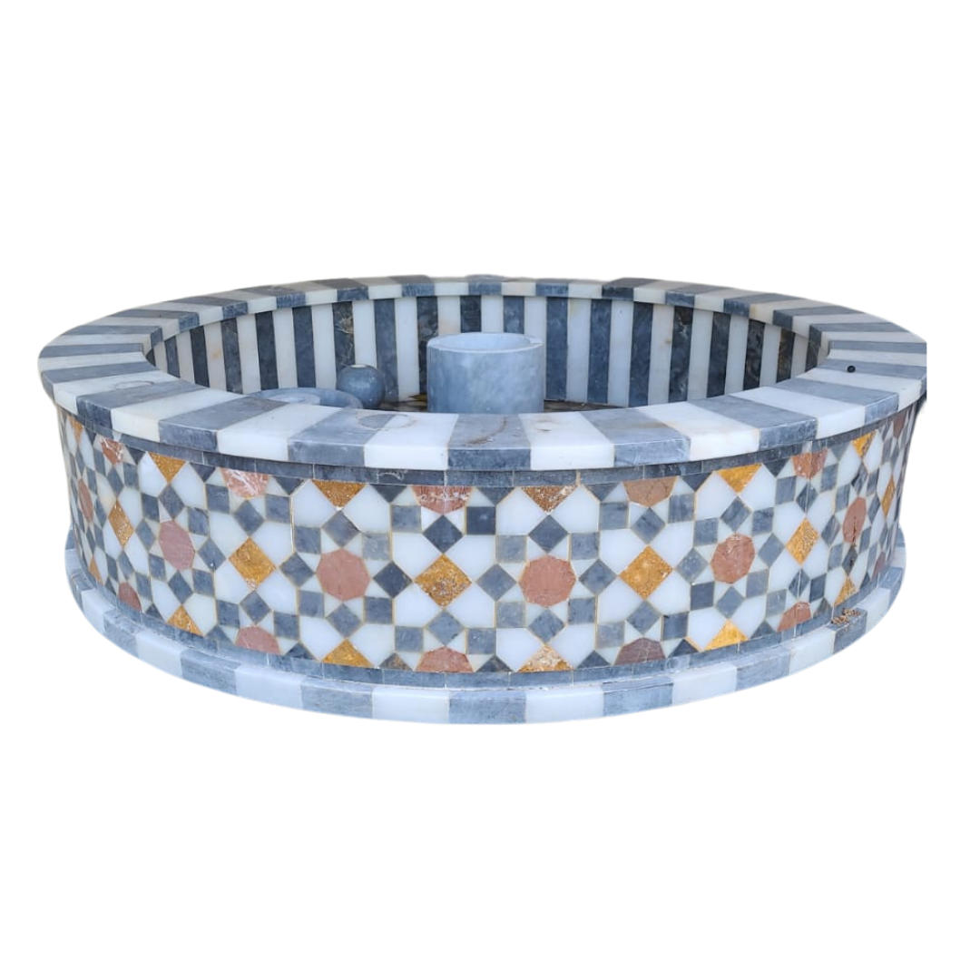 Buy Traditional Syrian Mozaic Marble Water Fountain - Stripes, Squares & Circles (W 100cm x H 30cm)