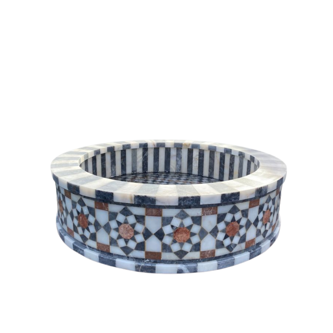 Buy Traditional Syrian Mozaic Marble Water Fountain - Stripes & Squares Décor (W 100cm x H 30cm)