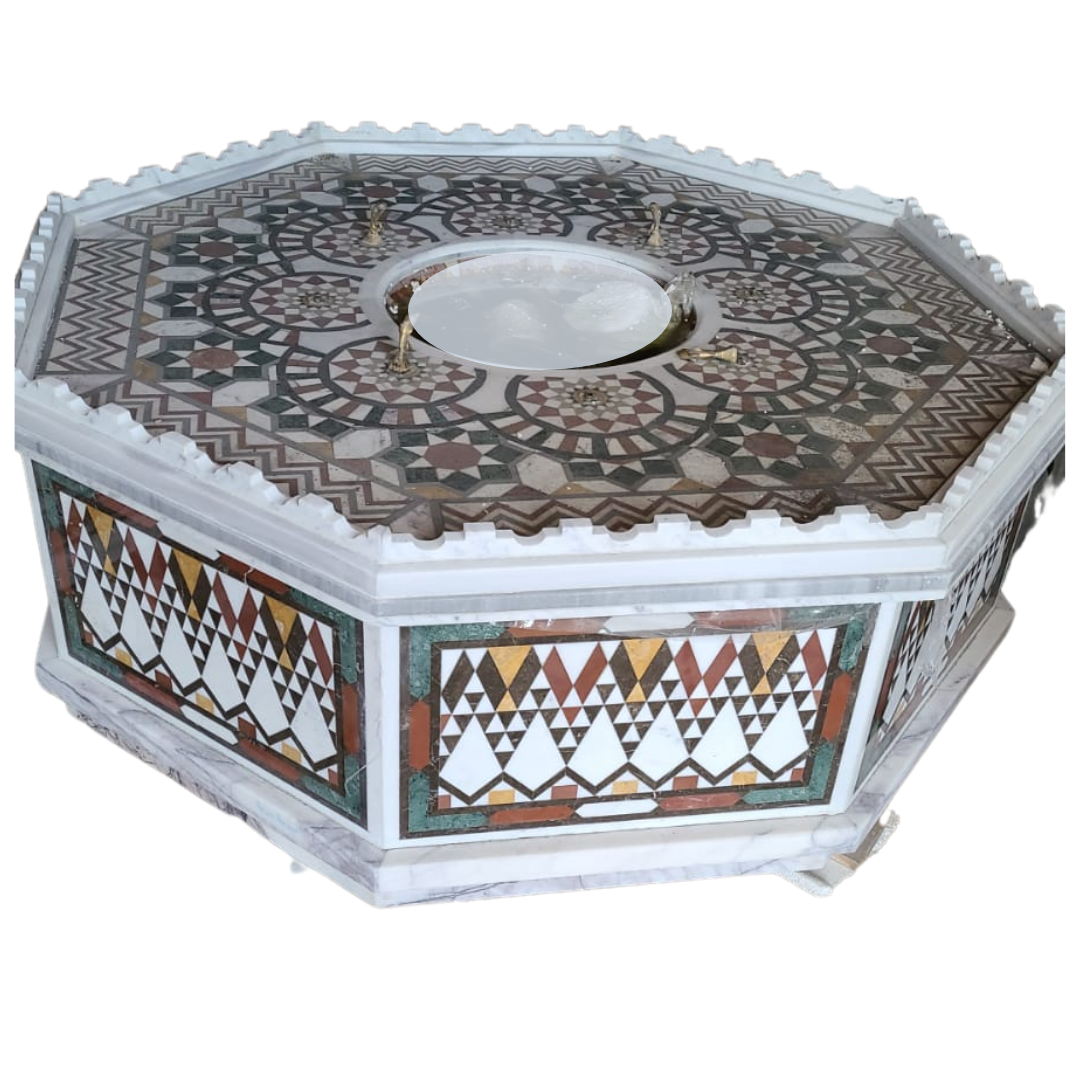 Buy Traditional Syrian Mozaic Marble Water Fountain - Castle Edge With 8 Golden Spouts (W 140cm x H 55cm)