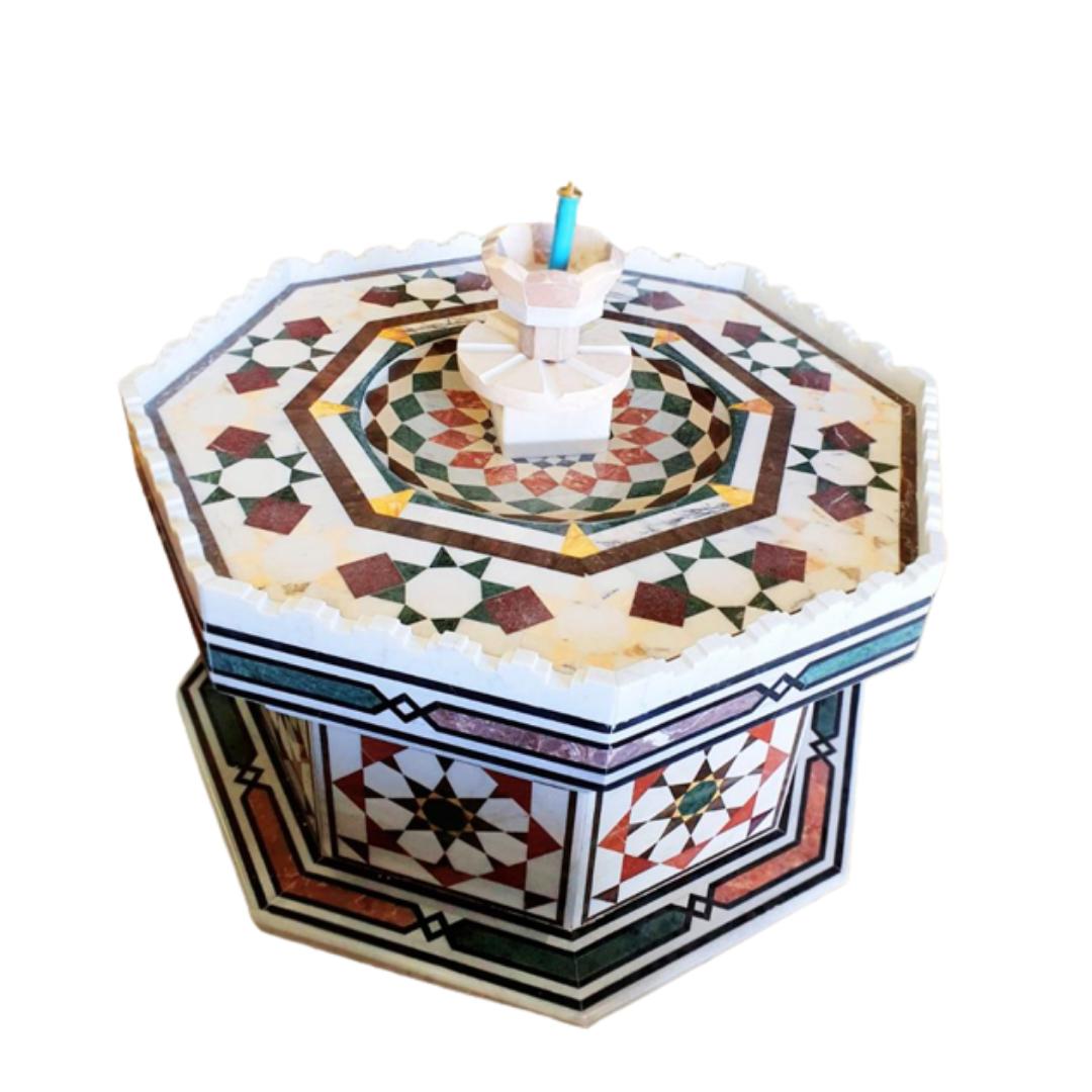 Buy Traditional Syrian Mozaic Marble Water Fountain - Diamond Flowers Décor (W 100cm x H 65cm)