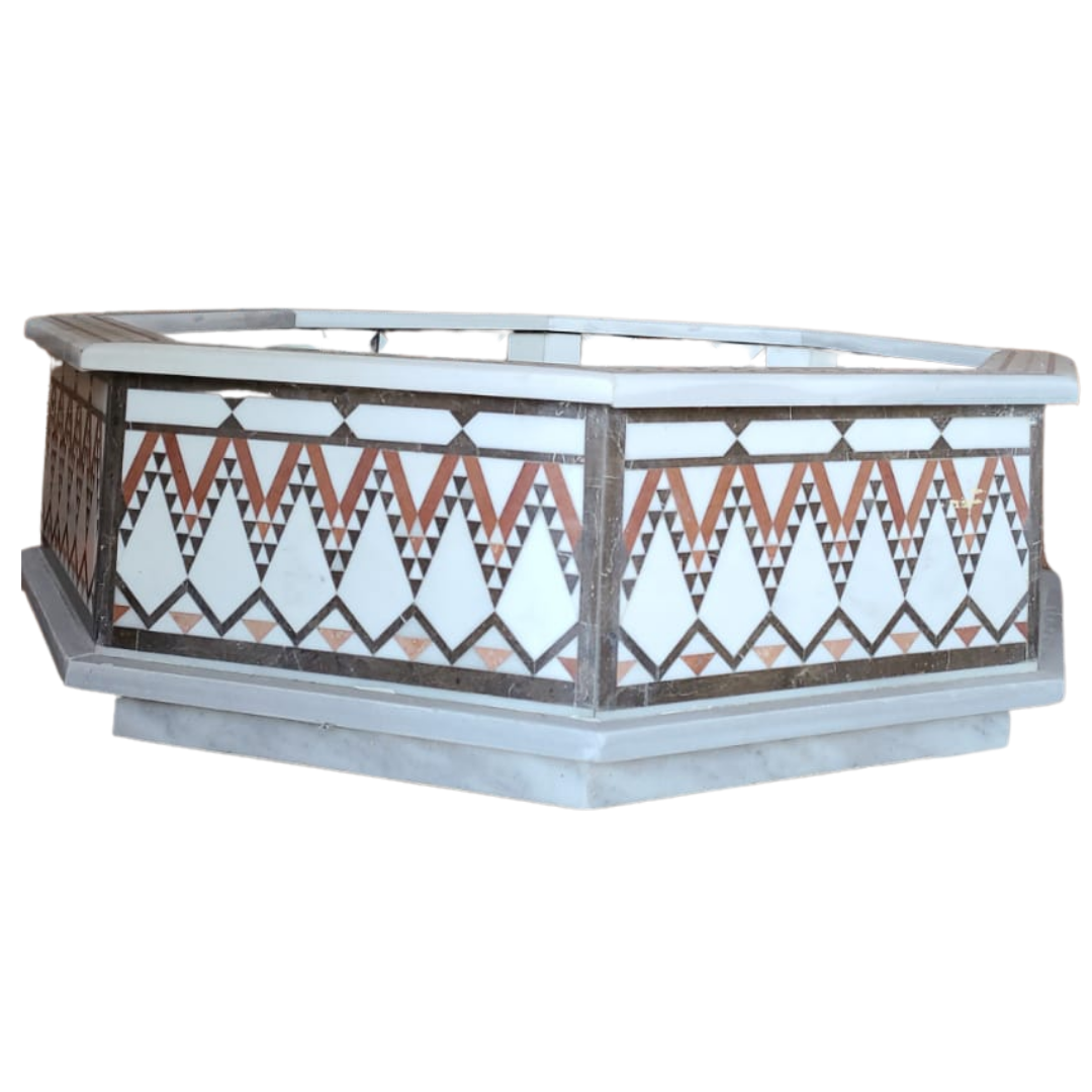 Buy Traditional Syrian Mozaic Marble Water Fountain - Zig Zag & Triangles Décor (W 125cm x H 40cm)