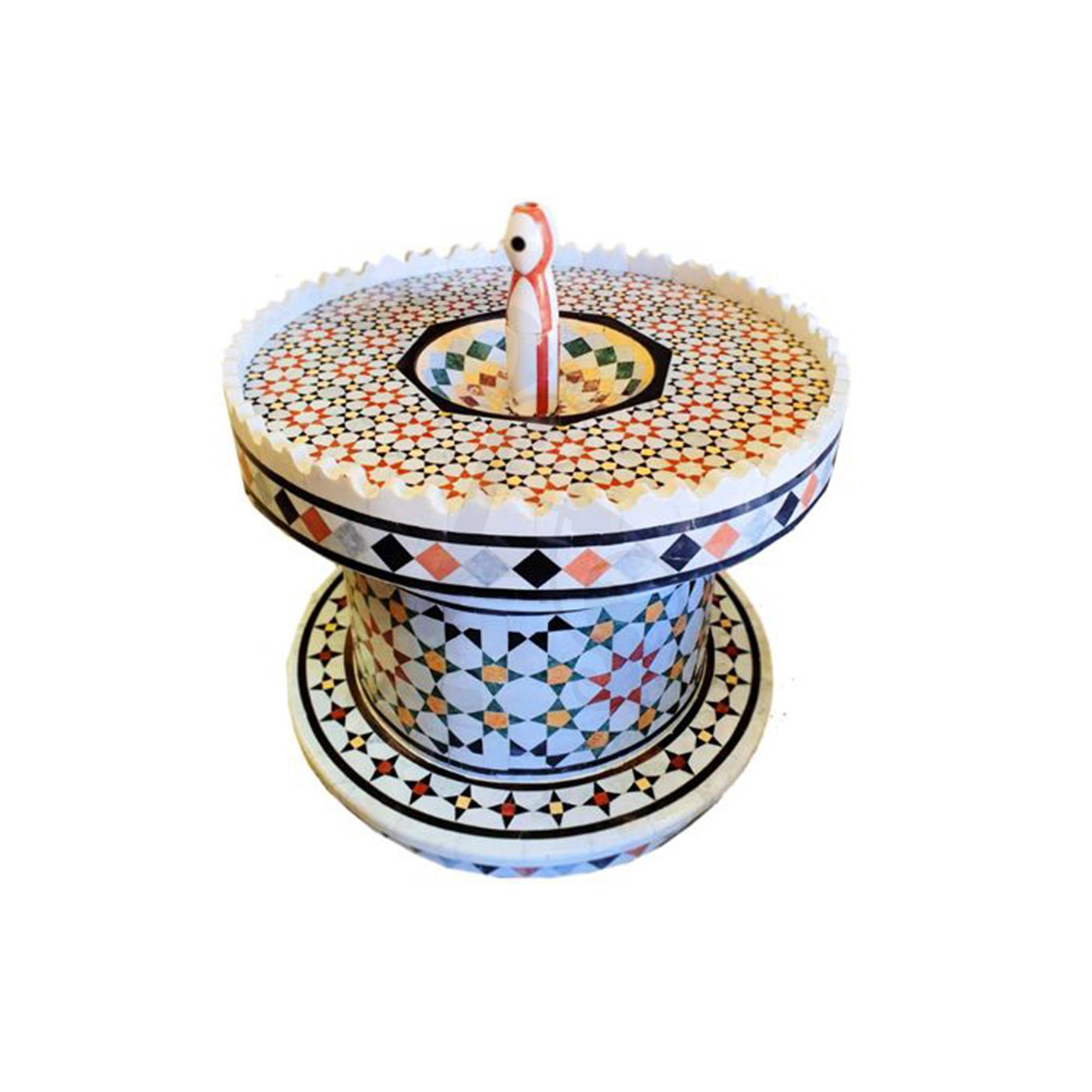 Buy Traditional Syrian Mozaic Marble Water Fountain - Diamonds & Stars Décor (W 100cm x H 80cm)