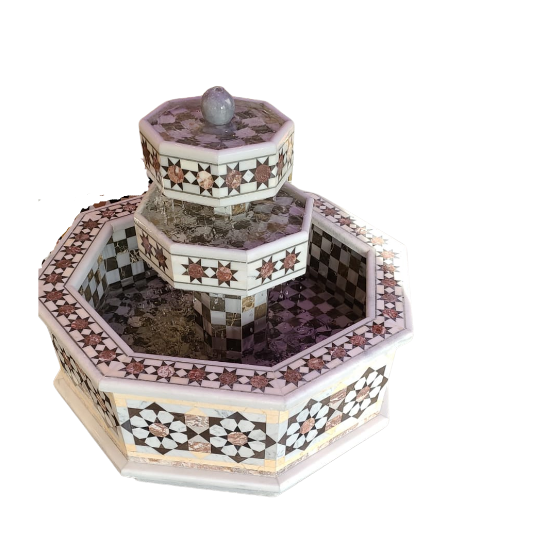 Buy Traditional Syrian Mozaic Marble Water Fountain - Sun Pattern Décor (W 95cm x H 40cm)