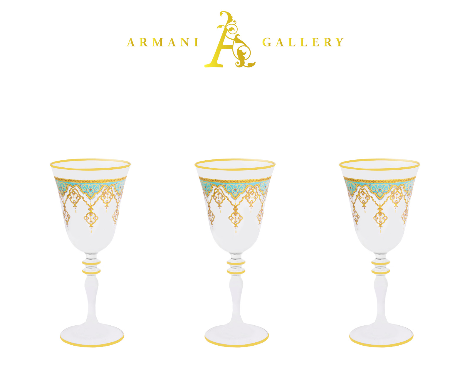 Buy Drinking Glass Set with Stem Green and Gold 440216
