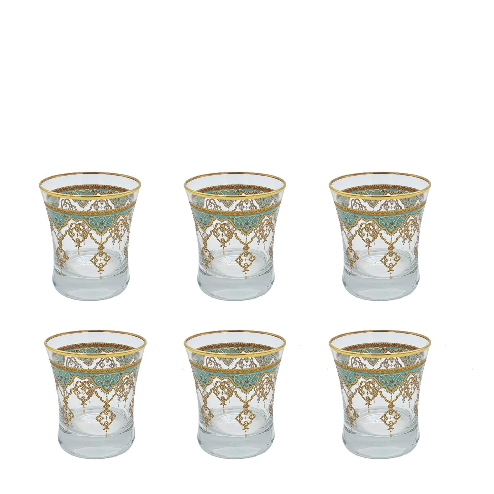 Buy Drinking Glass Set Green Border 10488 6 Pcs