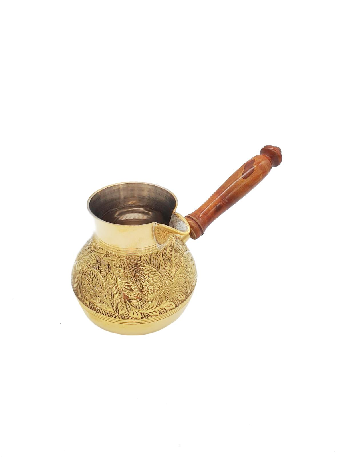 Buy Gold Copper Coffee Pot with Wooden Handle - Small