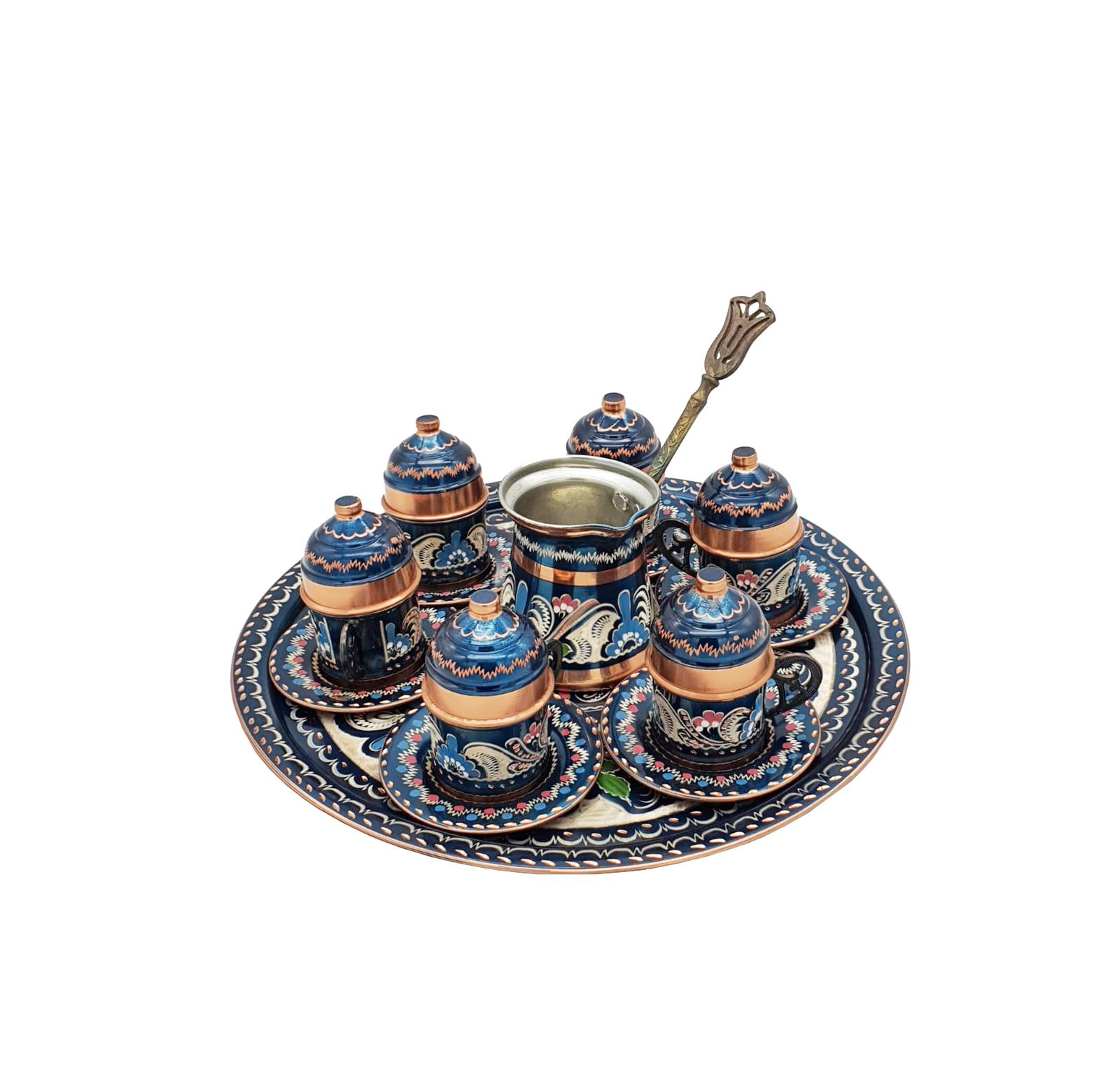 Buy Turkish Copper Coffee Set with Coffee Pot