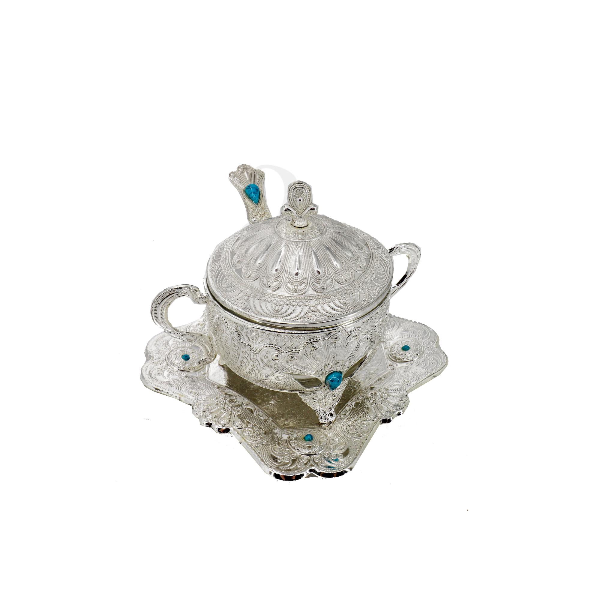 Buy Moroccan Sugar bowl with spoon - Silver