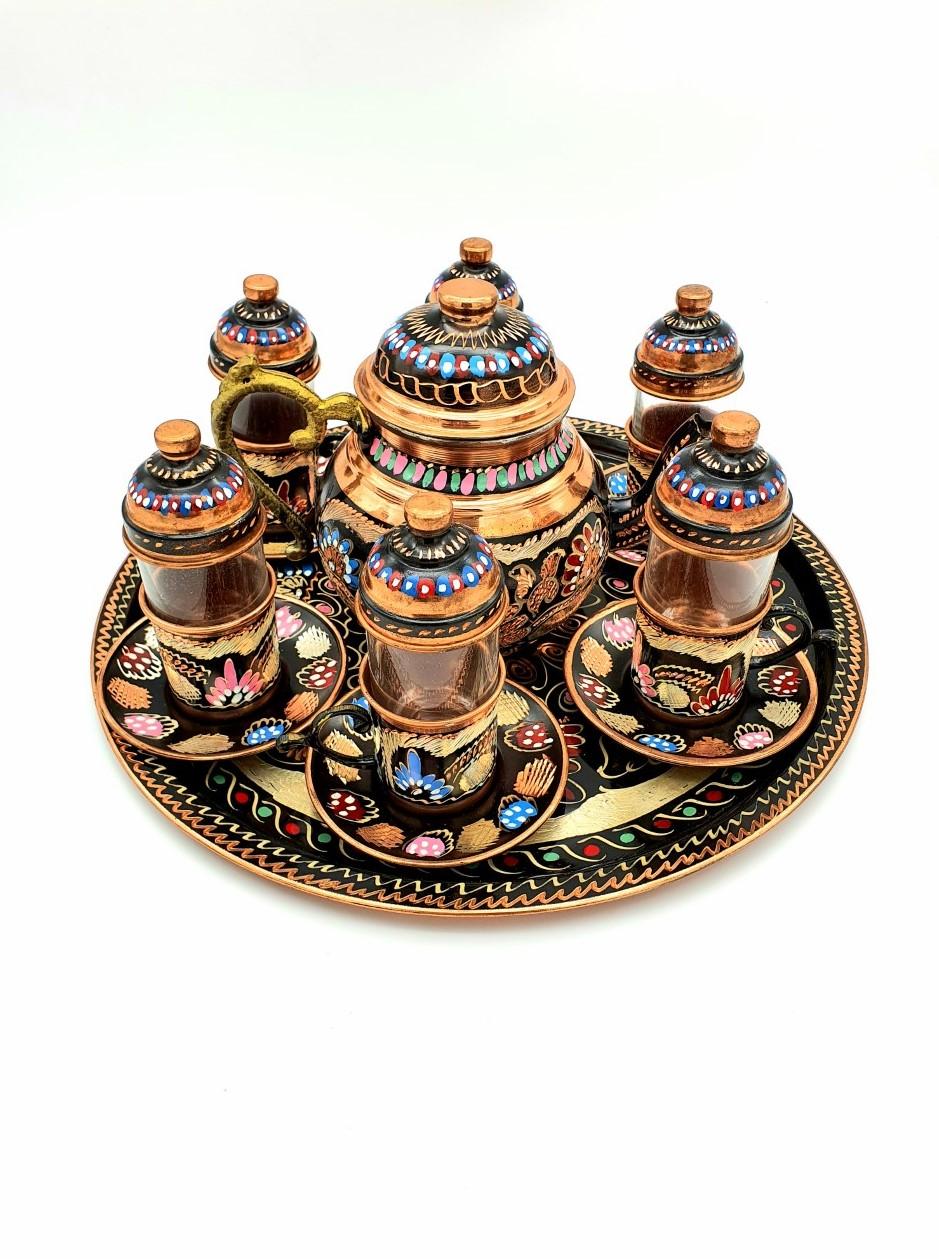 Buy Turkish Copper Tea Set with Tea Pot