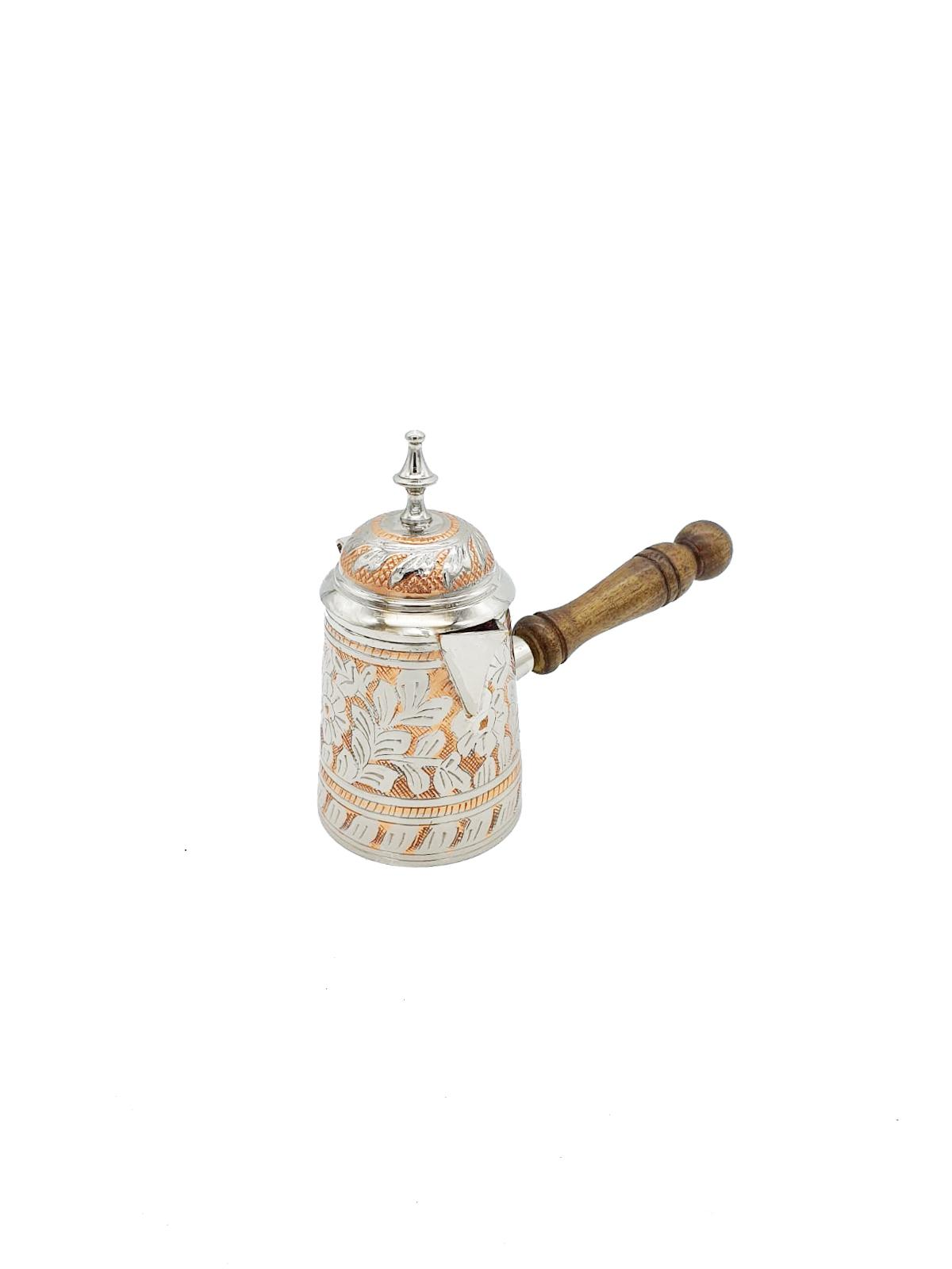 Buy Silver Coffee Pot with Lid and Wooden Handle
