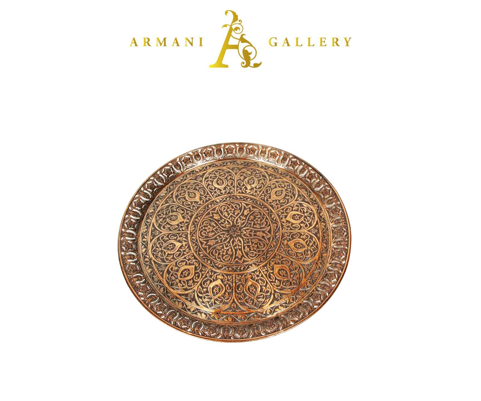 Buy Morrocan Round Tray - Bronze